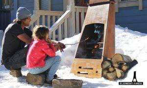 outdoor open fireplace