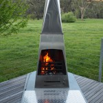 outdoor open fireplace stainless steel